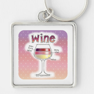 WINE, MORE WINE, EVEN MORE WINE Silver-Colored SQUARE KEYCHAIN