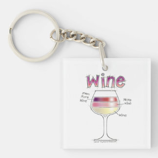 WINE, MORE WINE, EVEN MORE WINE Single-Sided SQUARE ACRYLIC KEYCHAIN