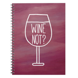 Wine Not Funny Quote Watercolor Notebooks