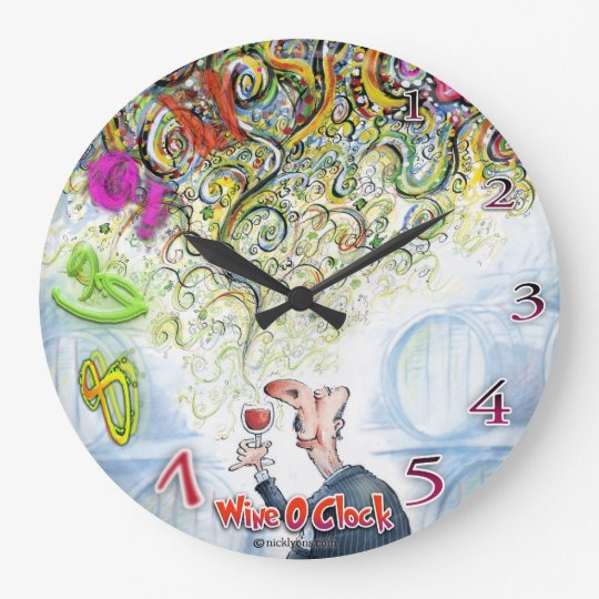 """Wine O Clock"" Vibrant coloured wine timepiece. Clock"