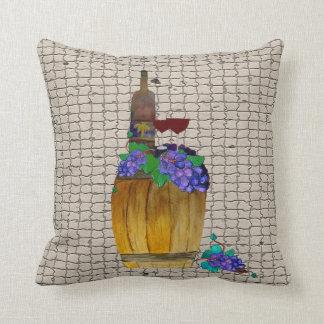 Wine Oak Barrel Throw pillow