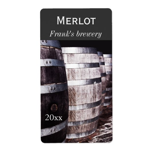 Wine oak barrels winery bottle label