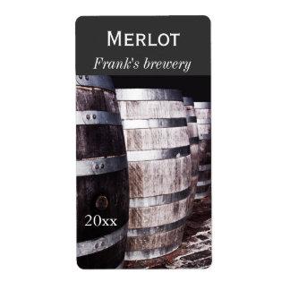 Wine oak barrels winery bottle label shipping label