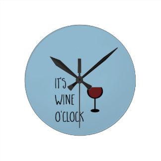 Wine O'Clock Round Clock