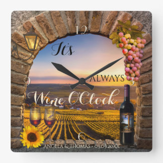 Wine OClock Vineyard Landscape Clock
