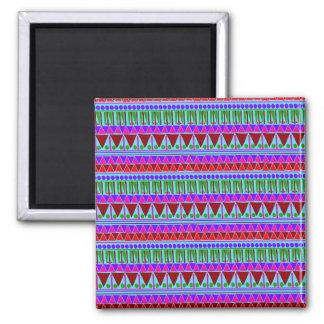 Wine Pink Aztec Stripes Pattern Boho Style Ethnic Square Magnet