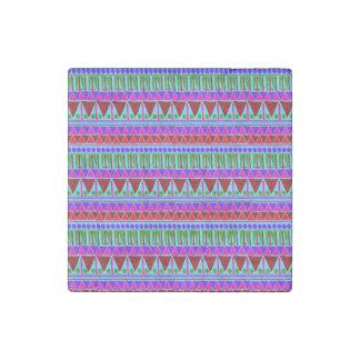Wine Pink Aztec Stripes Pattern Boho Style Ethnic Stone Magnets