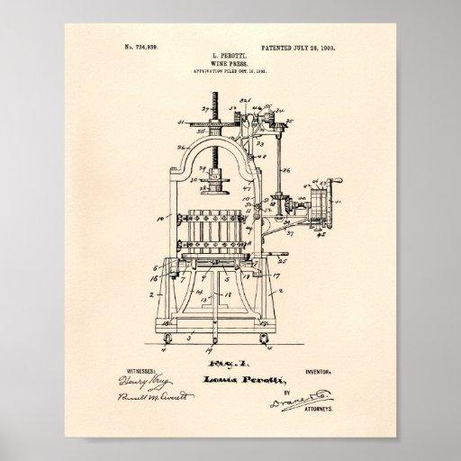 Wine Press 1903 Patent Art Old Peper Poster