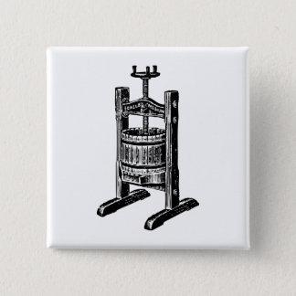 Wine Press 2 Inch Square Button