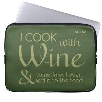 Wine Quote custom monogram laptop sleeves