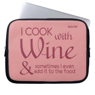 Wine Quote custom monogram laptop sleeves
