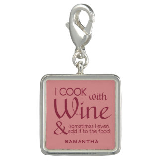 Wine Quote custom name charm / wristlet