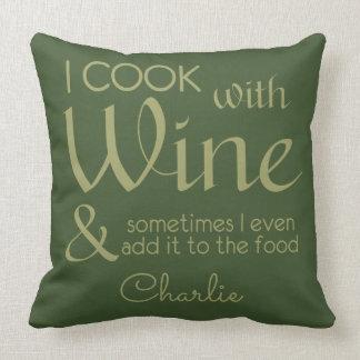 Wine Quote custom name throw pillow