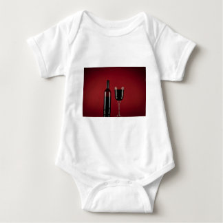 Wine red glass bottle baby bodysuit