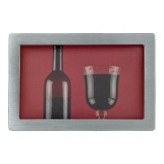 Wine red glass bottle belt buckle