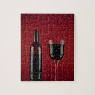Wine red glass bottle jigsaw puzzle