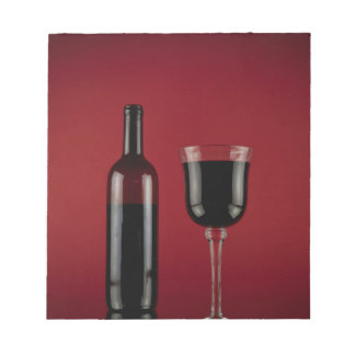 Wine red glass bottle notepad