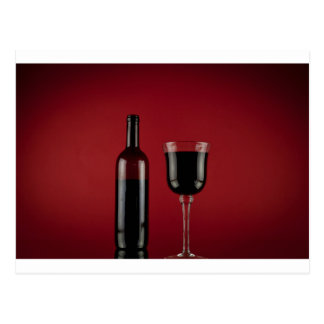 Wine red glass bottle postcard