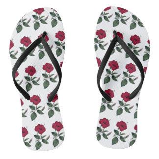 Wine Red Hibiscus Flower Flip Flops