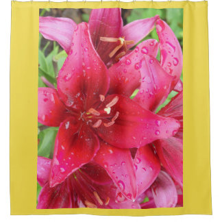 Wine Red Lilies Shower Curtain
