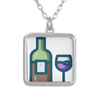 Wine Silver Plated Necklace