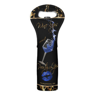 Wine Sips and Pouty Blue Lips -  Gold Marble Wine Bag