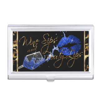 Wine Sips and Pouty Lips - Marble Business Card Holder
