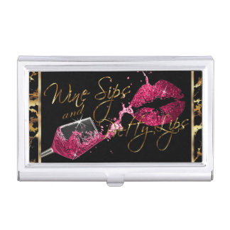 Wine Sips and Pretty Lips - Marble Business Card Holder