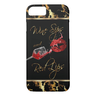 Wine Sips and  Red Lips iPhone 8/7 Case