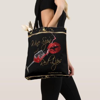 Wine Sips and Red Lips - Marble Tote Bag
