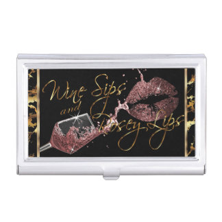 Wine Sips and Rosey Lips - Marble Business Card Holder