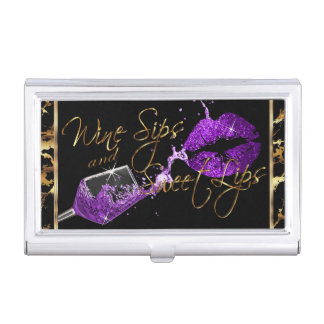 Wine Sips and Sweet Lips - Marble Business Card Holder