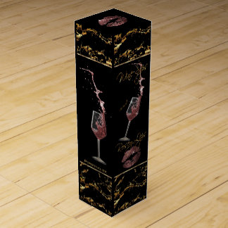 Wine Sips and Sweet Rosey Lips - Marble Pattern Wine Gift Box