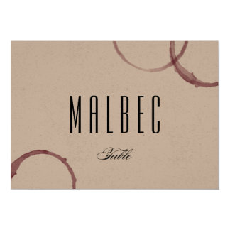 Wine Stains Winery Vineyard Table Card Number