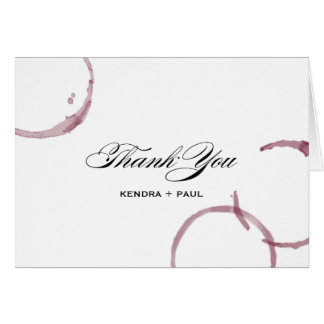 Wine Stains Winery Vineyard Wedding Thank You Card
