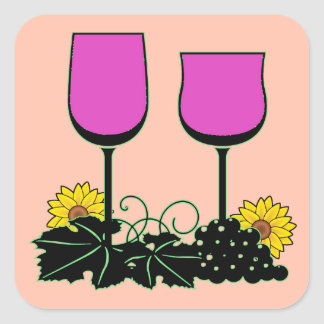 Wine & Sunflowers Square Sticker