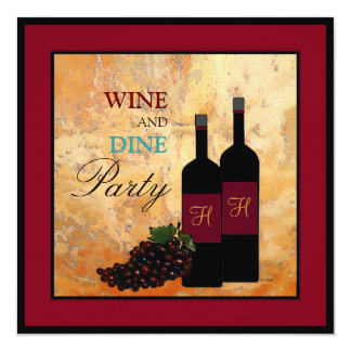 """Wine Tasting and Dinner Party 5.25"""" Square Invitation Card"""