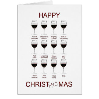Wine tasting funny Christmas card