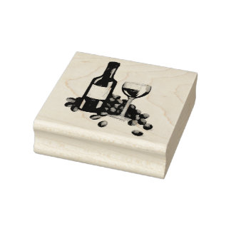 Wine Tasting Grapes Bottle Glass Red Wine Stamp