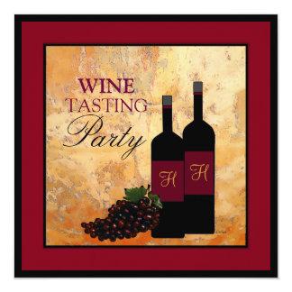 "Wine Tasting Party 5.25"" Square Invitation Card"