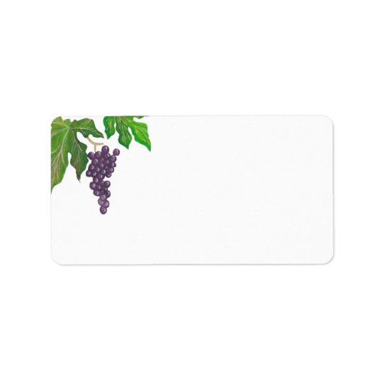 Wine Tasting Party Grapes Blank Address Label