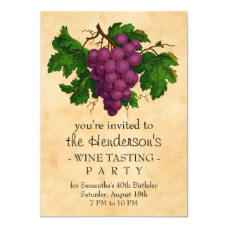 Wine Tasting Party Vintage Grapes Personalized Card