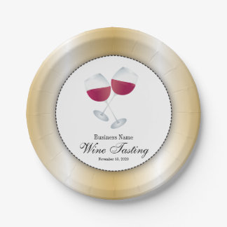 Wine Tasting with Glass of Red Wine 7 Inch Paper Plate
