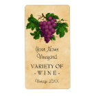 Wine Template Vintage Grapes Personalized Bottle