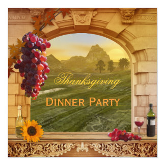 Wine Thanksgiving Dinner Party Invitation