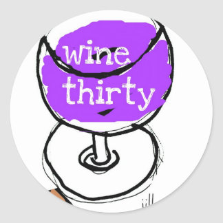 WINE THIRTY BRIGHT AND BOLD WATERCOLOR CLASSIC ROUND STICKER