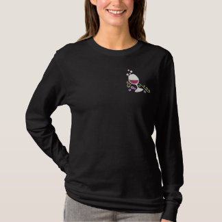 Wine Toast Embroidered Long Sleeve T-Shirt