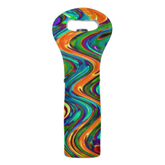Wine Tote Carrier with Abstract Design Colorful