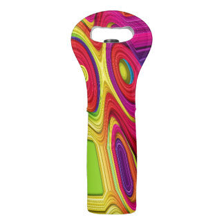 Wine Tote with Colorful Abstract Design