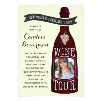 "Wine Tour | Photo Bachelorette Party 5"" X 7"" Invitation Card"